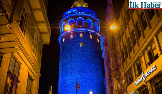 Galata Kulesi Mavi Renge Bürünecek