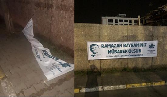Gelecek Partisi'nin Bayram Kutlama Afişleri Parçalandı