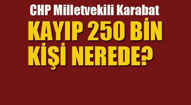 """CHP'li Karabat """"Kayıp 250 Bin Kişi Nerede?"""""""